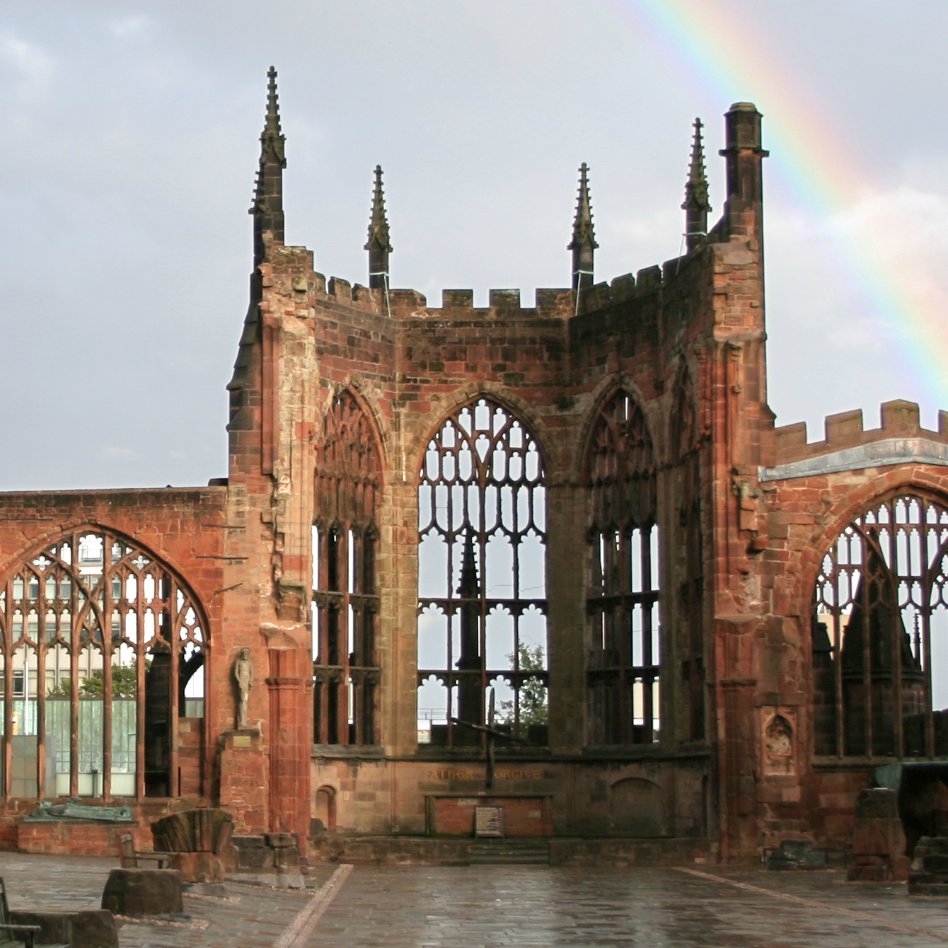 File Coventry Cathedral Ruins With Rainbow