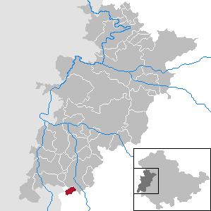 Lage der Gemeinde Empfertshausen im Wartburgkreis