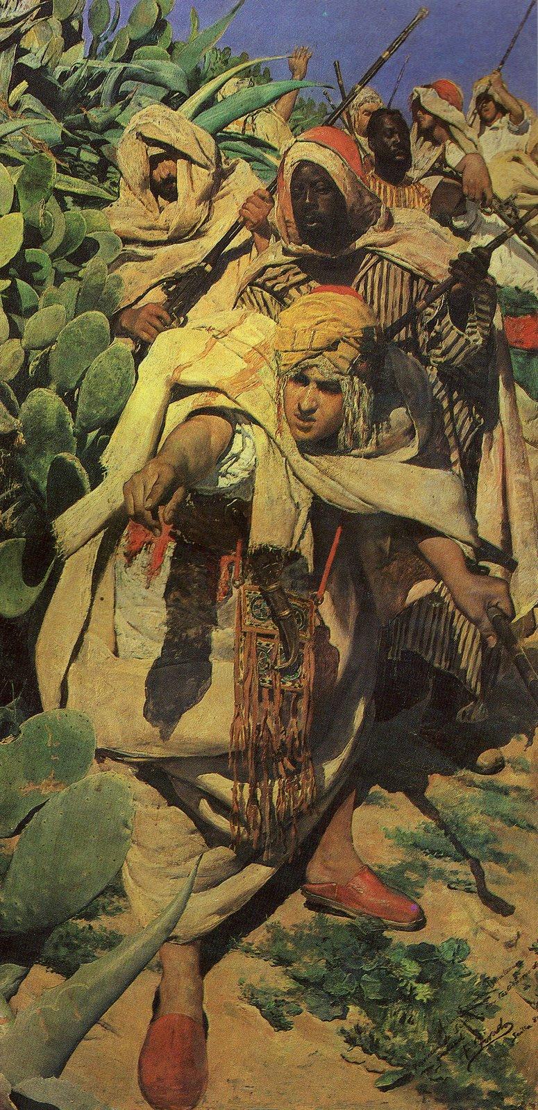 """Embuscade maure"" en babouche (""Emboscada mora""), tableau de Fernando Tirado au musée des Beaux Arts de Séville."