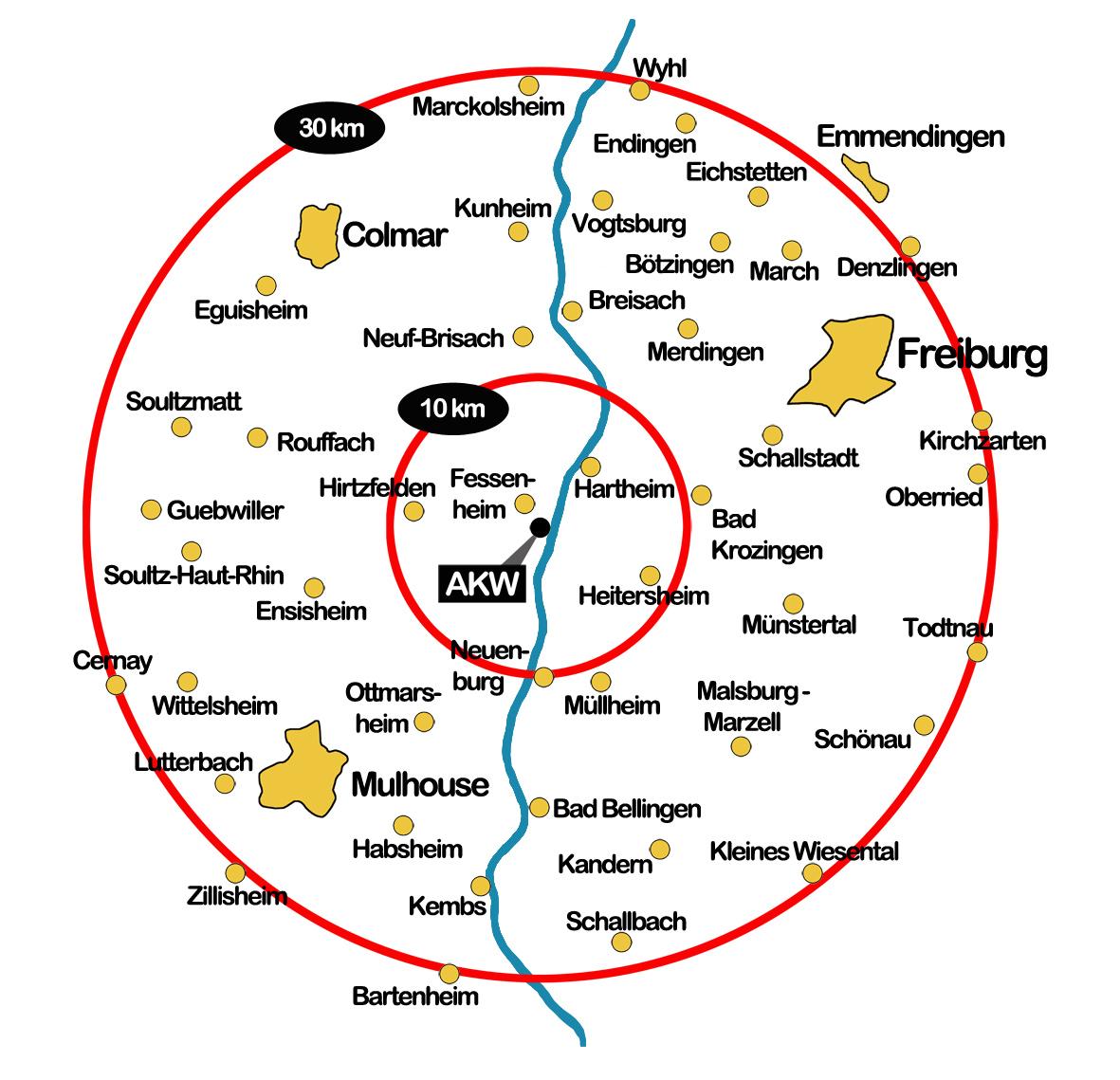 Übersicht über die Evakuierungszonen des Atomkraftwerks Fessenheim