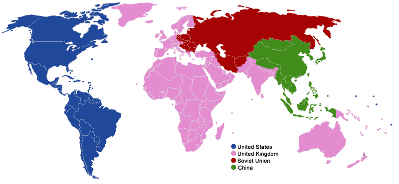 World Partition Plan after World War II by the Four Policemen. FourPolicemenZones.png