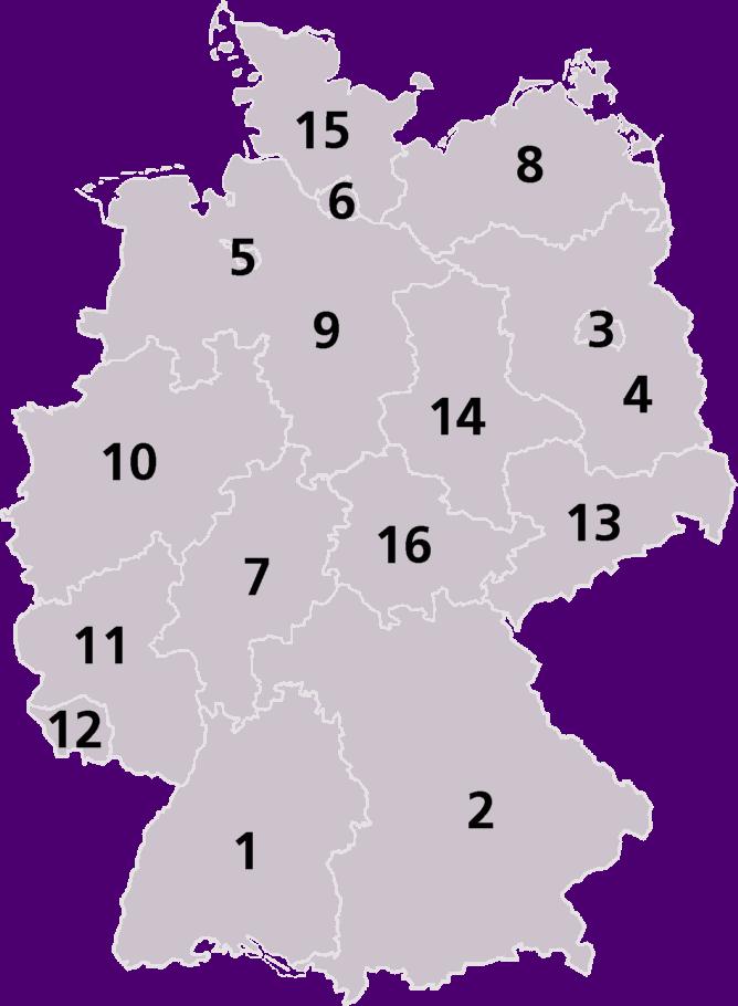 Čečenske bande sve jače u. Njemačkoj Germany_Laender_Map