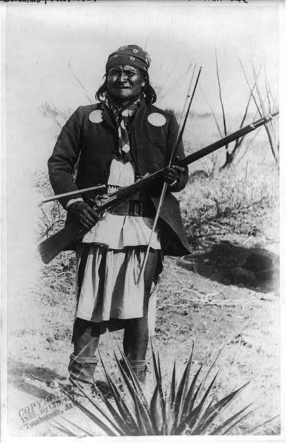 Geronimo, before meeting General Crook on March 27, 1886. Geronimo 17apr1886.jpg