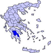 Location of Arcadia Prefecture in Greece