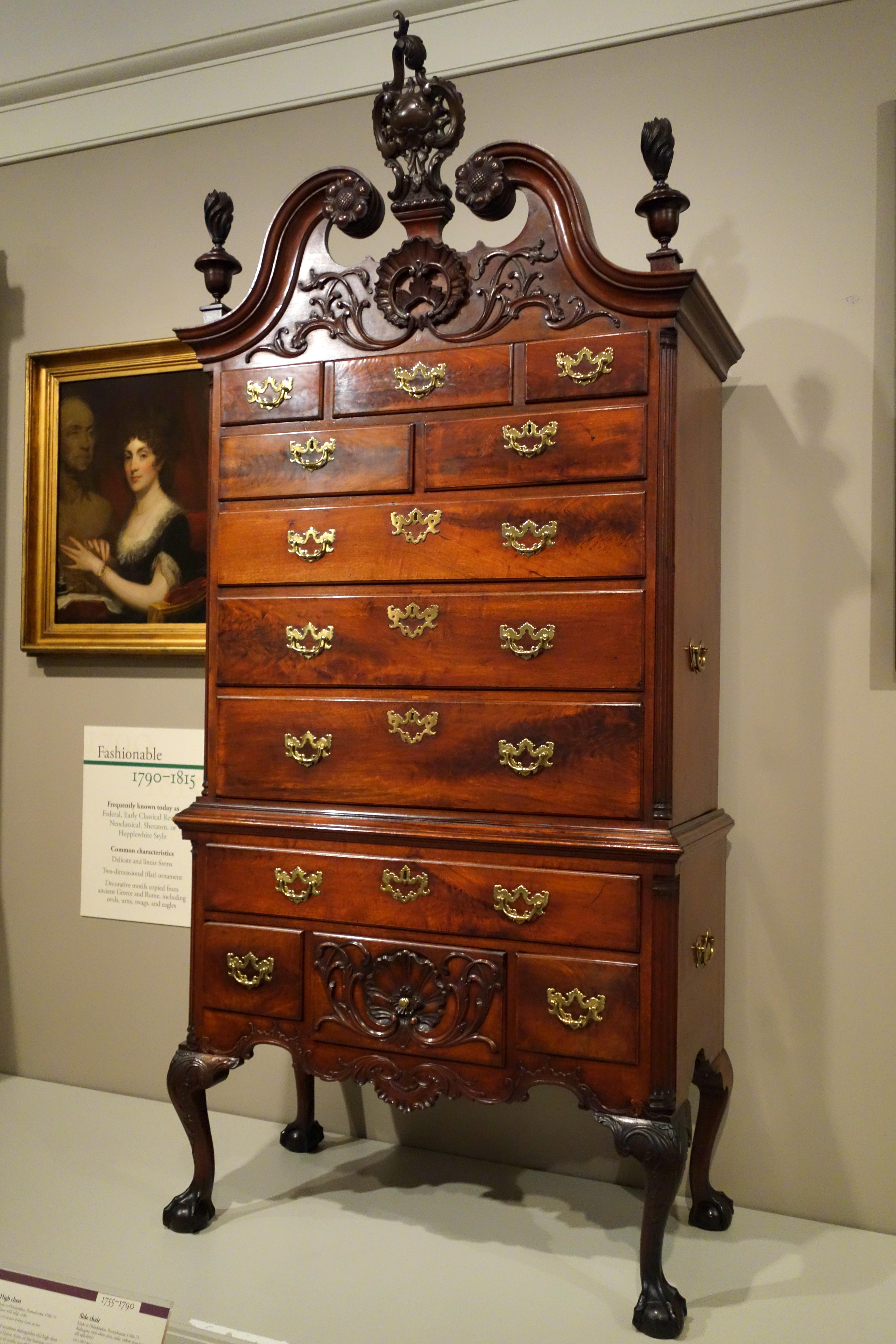 File High Chest Philadelphia 1760 1775 Walnut With