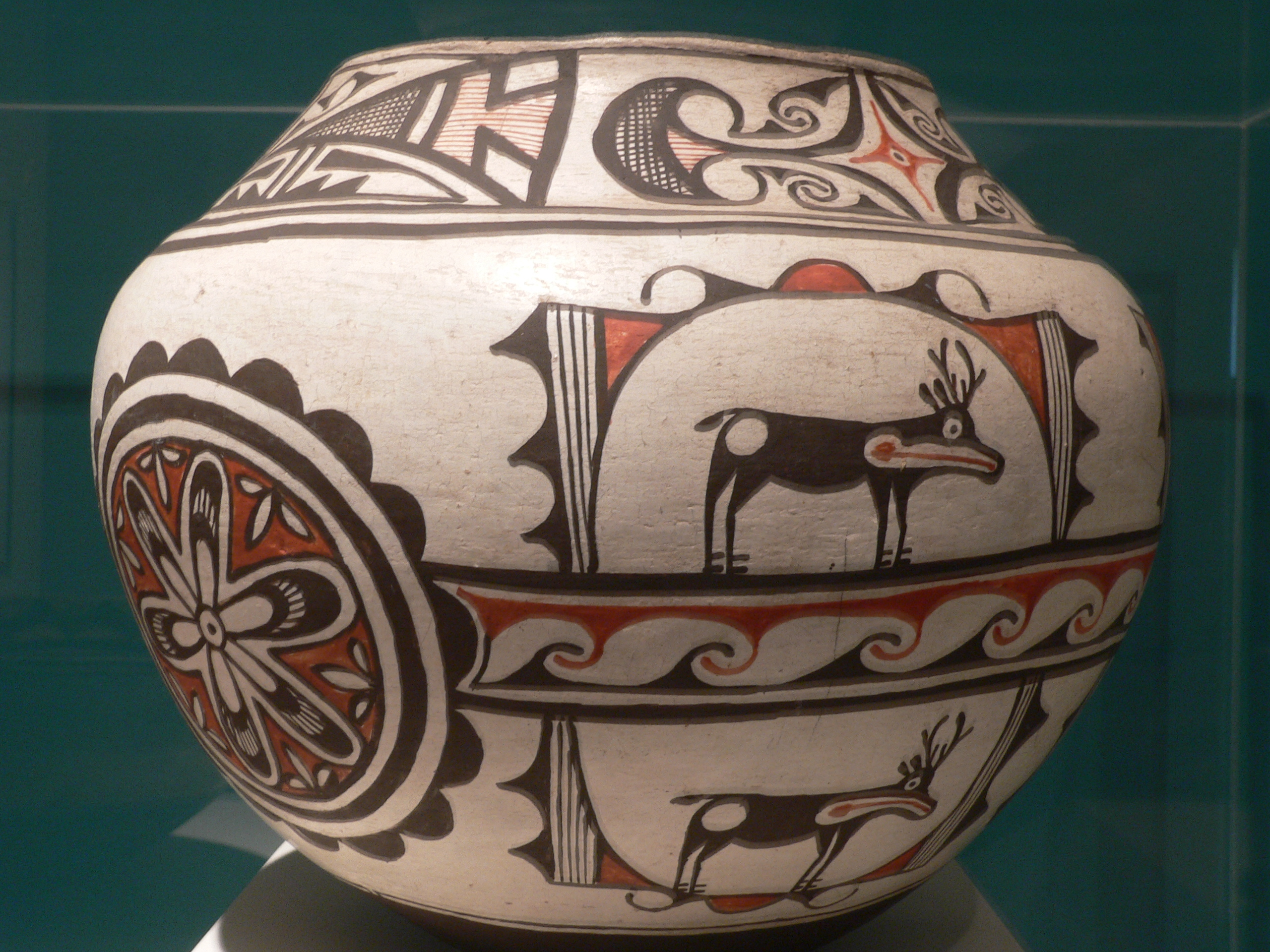 Hopi Pottery Vase With Stone Base Ring