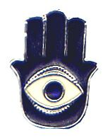 This Hamsa hand, called a Hand of Fatimah by Muslims and a Hand of Miriam among Jews, contains the eye motif that wards off the evil eye.