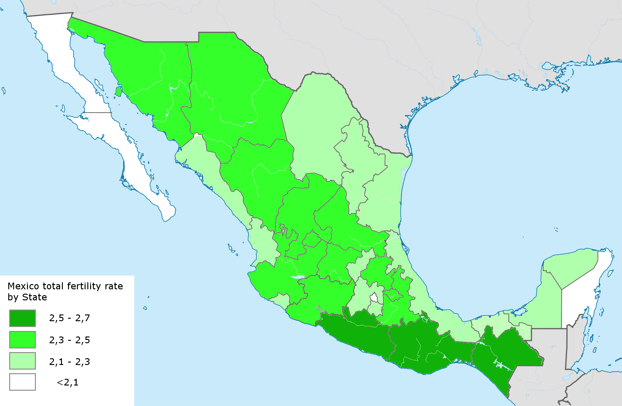 list of mexican states by fertility rate