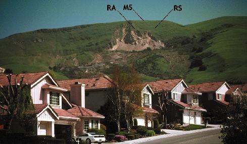Landslide on the side of Mission Peak