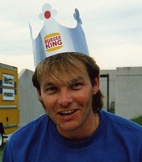 A Burger King crown on Nick Van Eede