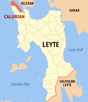 Map of Leyte showing the location of Calubian
