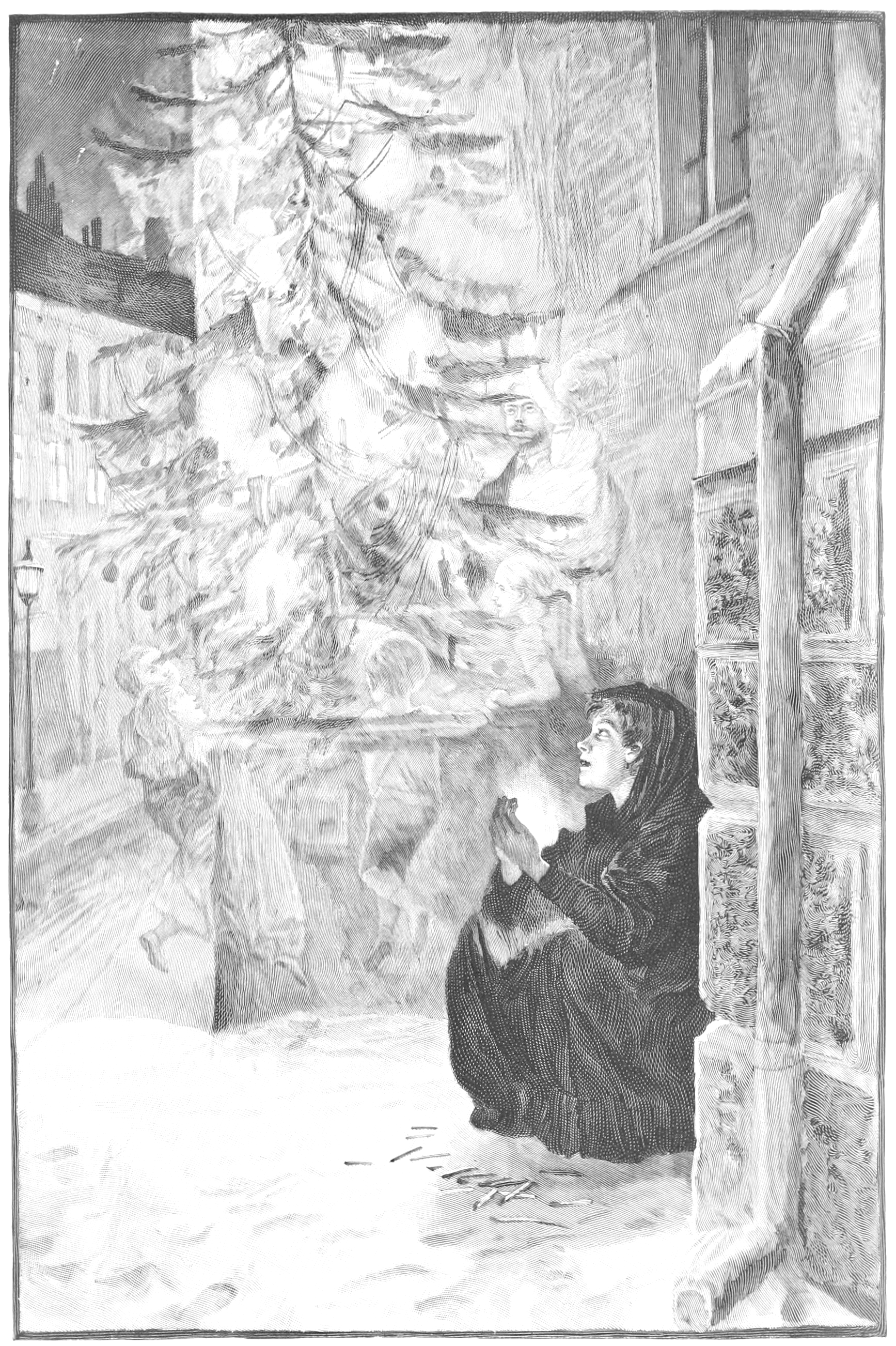 A drawing of a girl wrapped in a cloak crouching in the snow. She is having a vision of a Christmas tree.