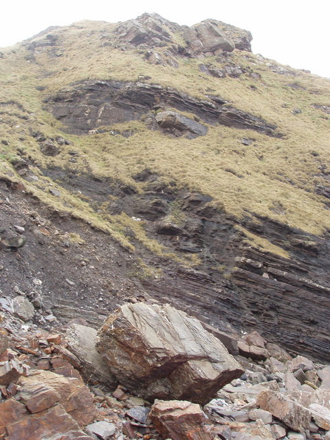 A cliff of crumbly shale