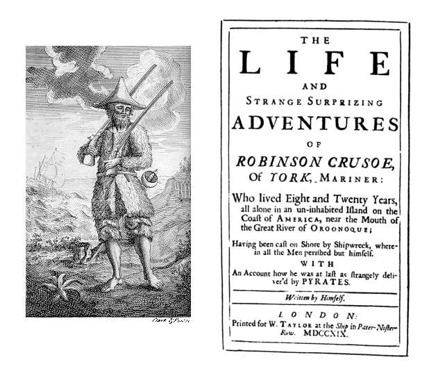 Title Page of Robinson Crusoe, 1719.  Ibn Tufayl's Ḥayy ibn Yaqẓān anticipated and may have inspired Daniel Defoe's famous novel about an island castaway. (Wikimedia Commons)