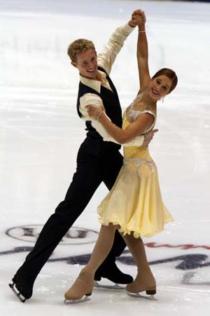 Samuelson and Bates perform the Viennese Waltz compulsory dance at the 2007–08 Junior Grand Prix event in Lake Placid, New York