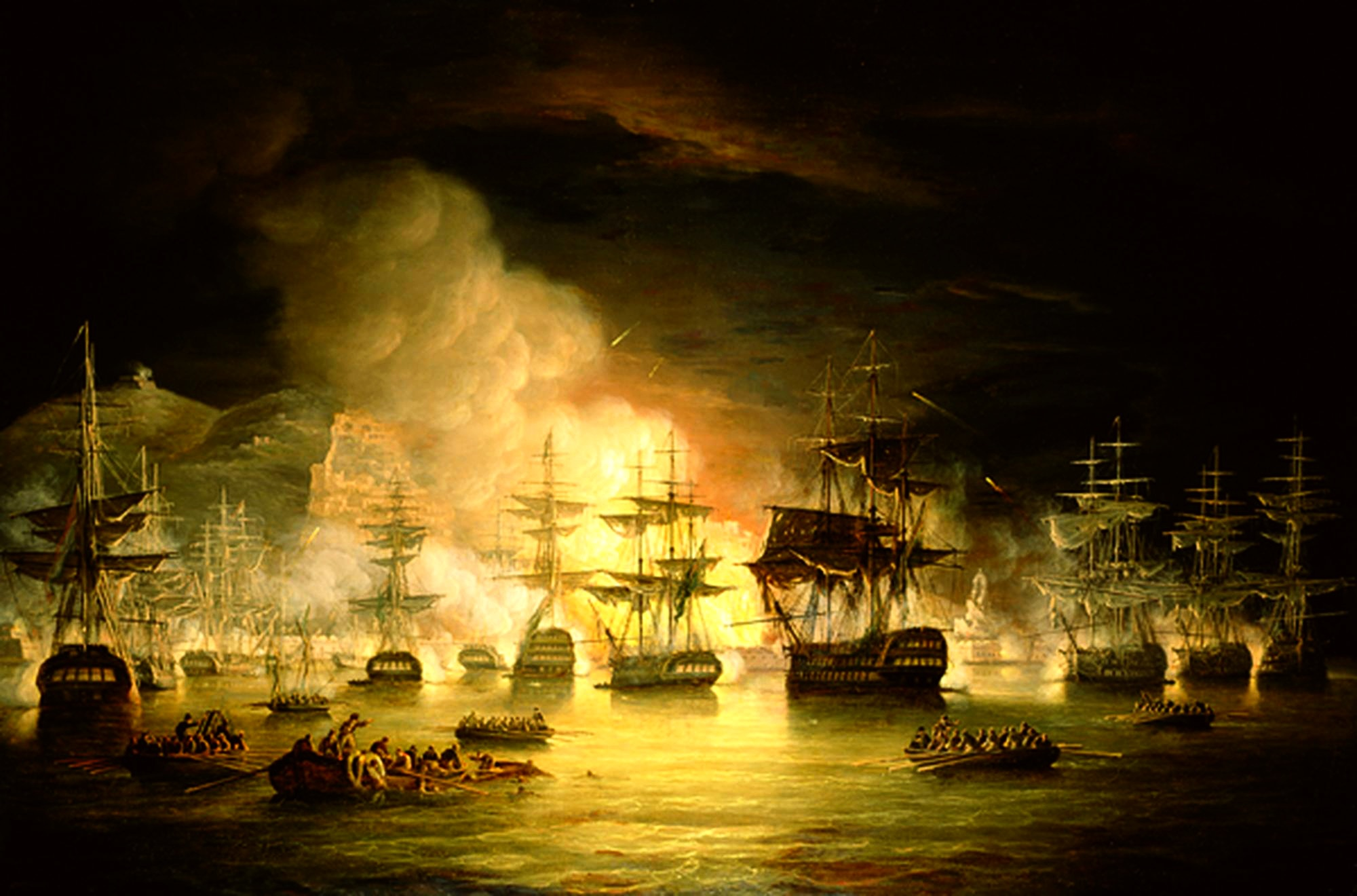 Bombardment of Algiers by Thomas Luny, 1819