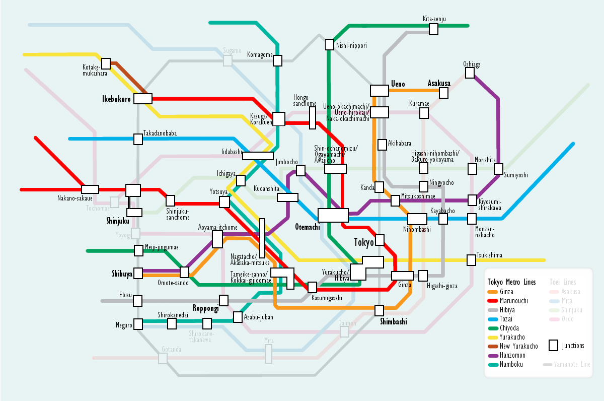 Plan de Métro : Tokyo Tokyo_subway_metro_map