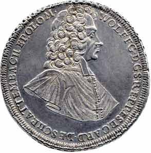1721硬幣上的許拉騰巴赫肖像。(維基百科)