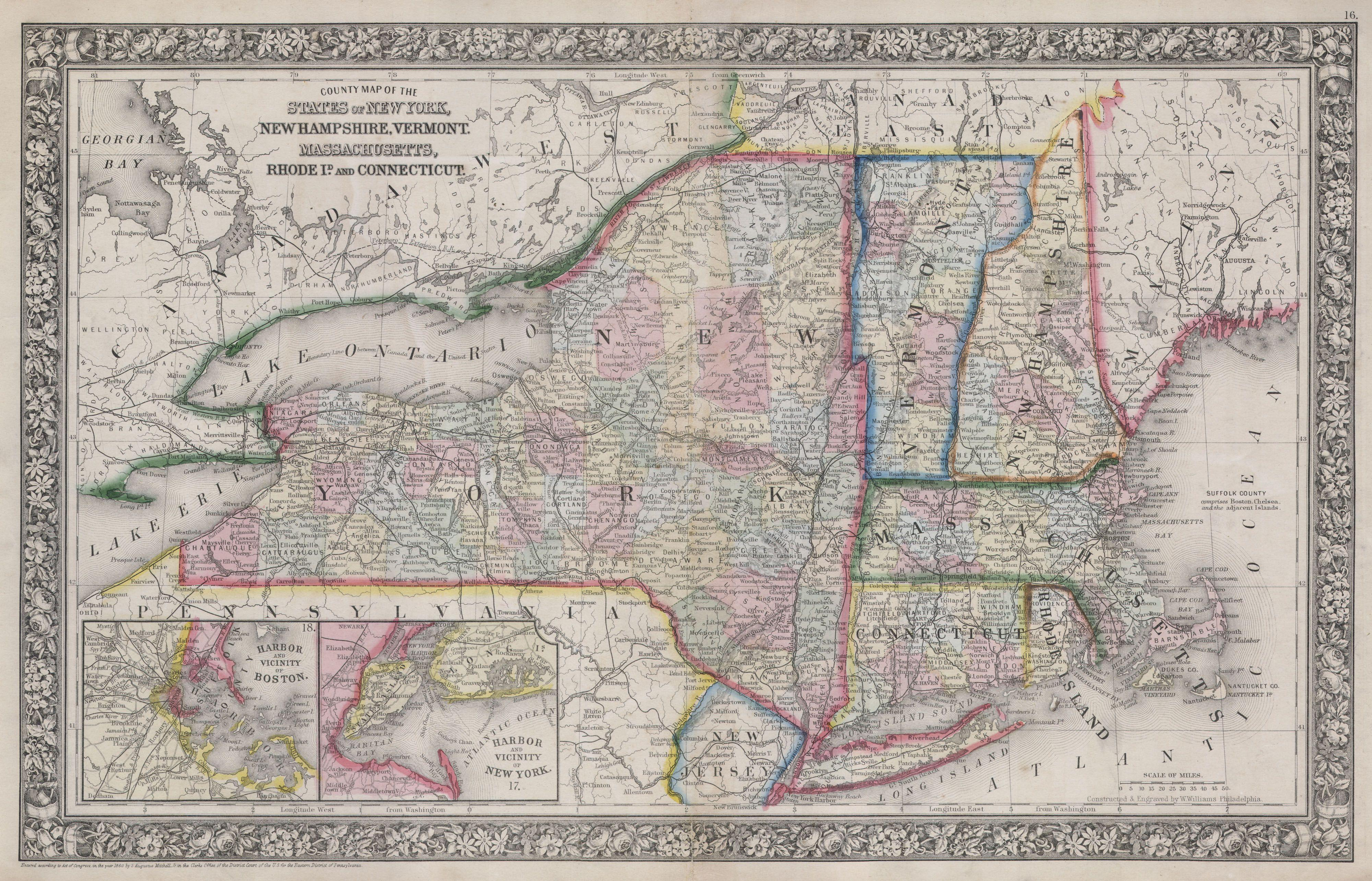 File:1864 Mitchell Map of New York, Massachusetts, Connecticut