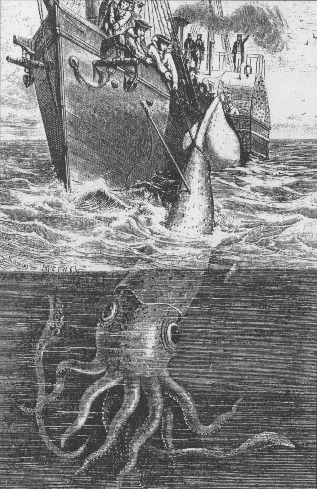 The Alecton attempts to capture a giant squid off Tenerife in 1861. Illustration from Harper Lee's Sea Monsters Unmasked, London, 1884.