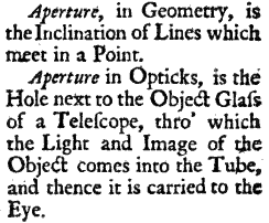 Definitions of Aperture in the 1707 Glossographia Anglicana Nova[1]