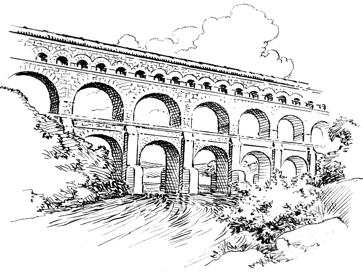 Line Drawing of an Aqueduct