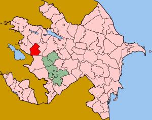 Map of Azerbaijan showing Daskasan rayon