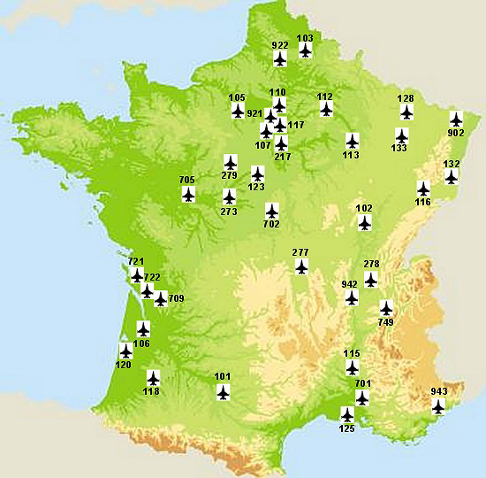 List Of French Air Force Bases Wikipedia - Map of us bases overseas