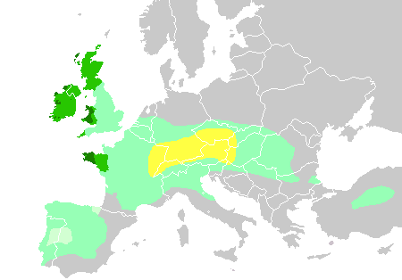 "Diachronic distribution of Celtic peoples, showing expansion into the southern Netherlands:   core حضارة هالستات territory, by the 6th century BC   maximal Celtic expansion, by 275 BC   لوسيتانياn area of Iberia where Celtic presence is uncertain   the ""six Celtic nations"" which retained significant numbers of Celtic speakers into the أوائل العصر الحديث   areas where Celtic languages remain widely spoken today"