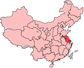 Jiangsu is highlighted on this map