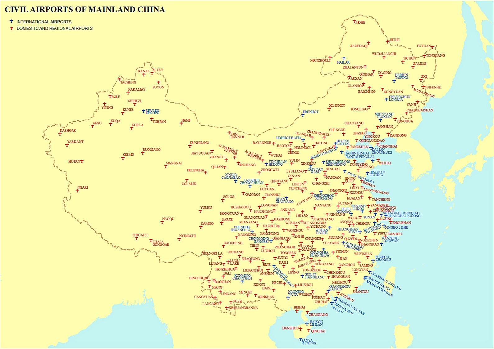 international airports in china map List Of Airports In China Wikipedia international airports in china map