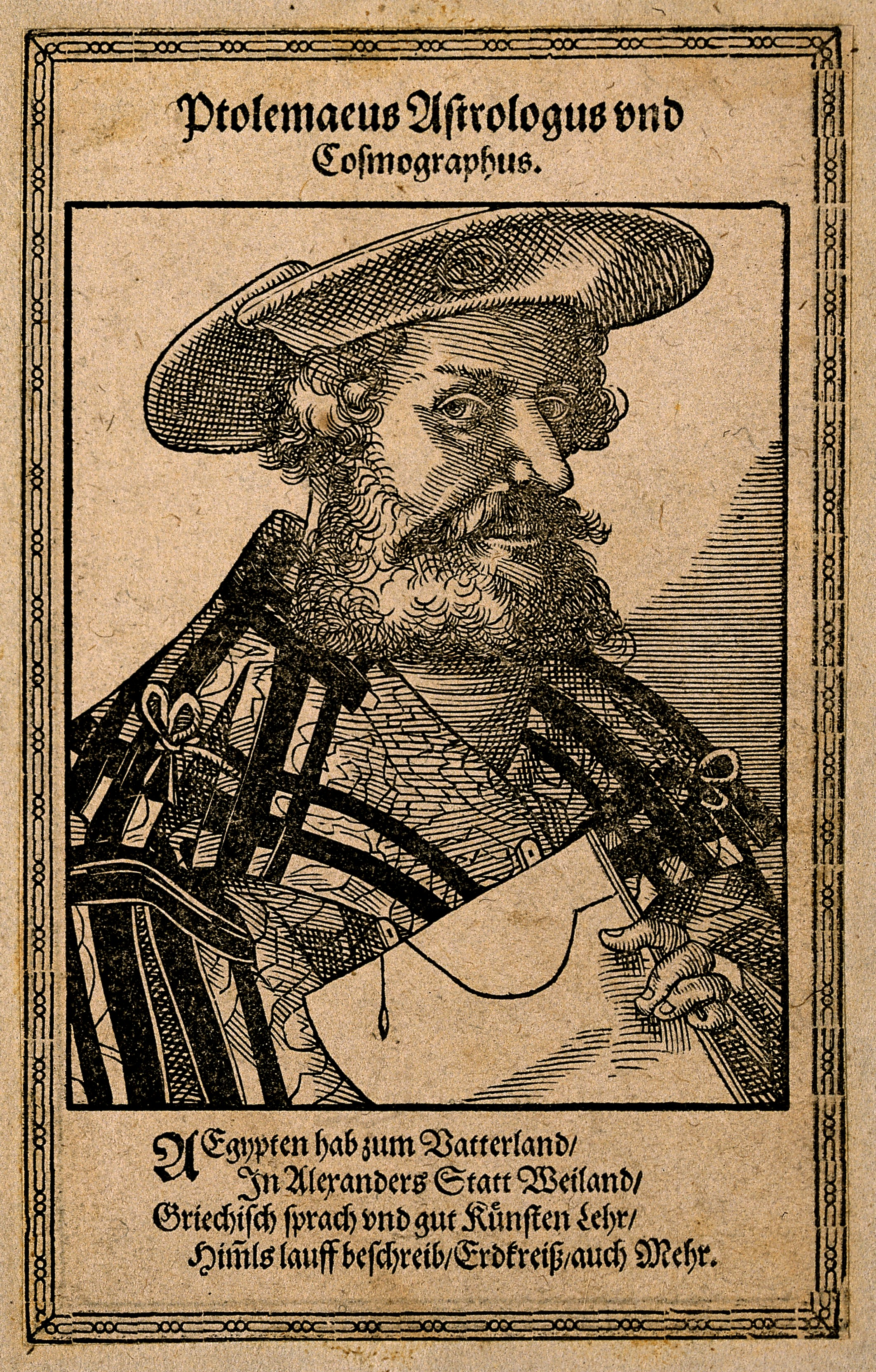 File:Claudius Ptolemaeus (Ptolemy). Woodcut by T. Stimmer, 1587.