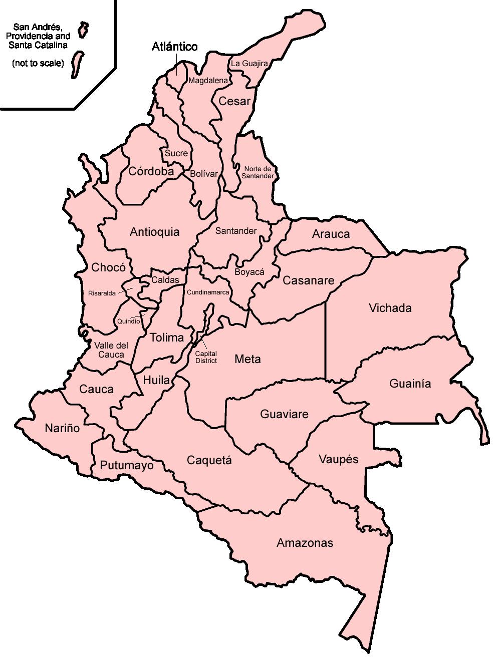 Departamentos de Colombia - Wikipedia, a enciclopedia libre