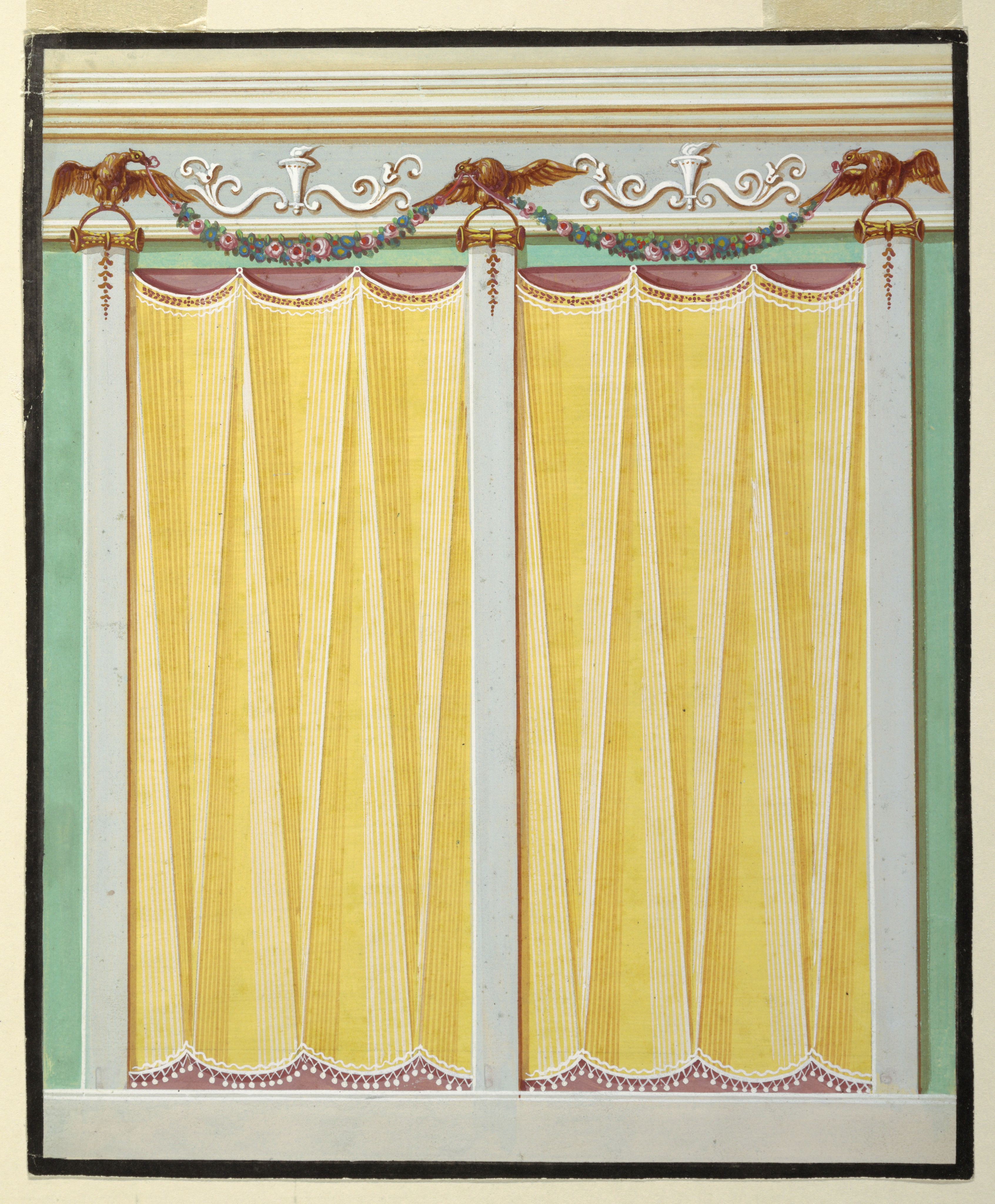 File:Drawing, Design for Painted Decoration of a Wall, 1825–40 (CH ...