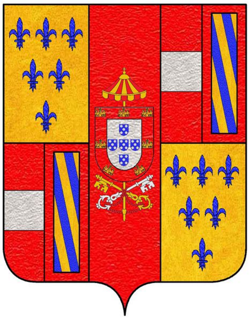Arms as dukes of Parma: 1st & 4th quarter, Farnese, 2nd & 3rd quarter, Austria impaled with Burgundy ancient (Habsburg), center the arms of,the papal gonfaloniere, center sur-le-tout, Portugal