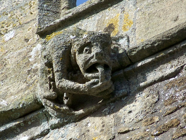 Gargoyle on the Church of St Michael and All Angels, Buckland Dinham