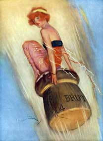 1915 English magazine illustration of a lady riding a Champagne cork (Lordprice Collection)