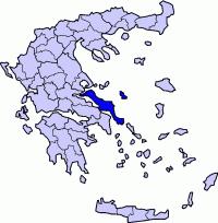 """מפת אוויה (אנ') הכולל את האי """"אוויה"""", האי סקירוס ממזרחו, ומקצת מהיבשת במרכז יוון"""