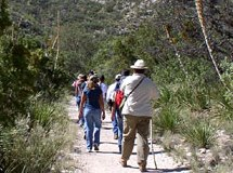A group of people hiking in the Guadalupe Moun...