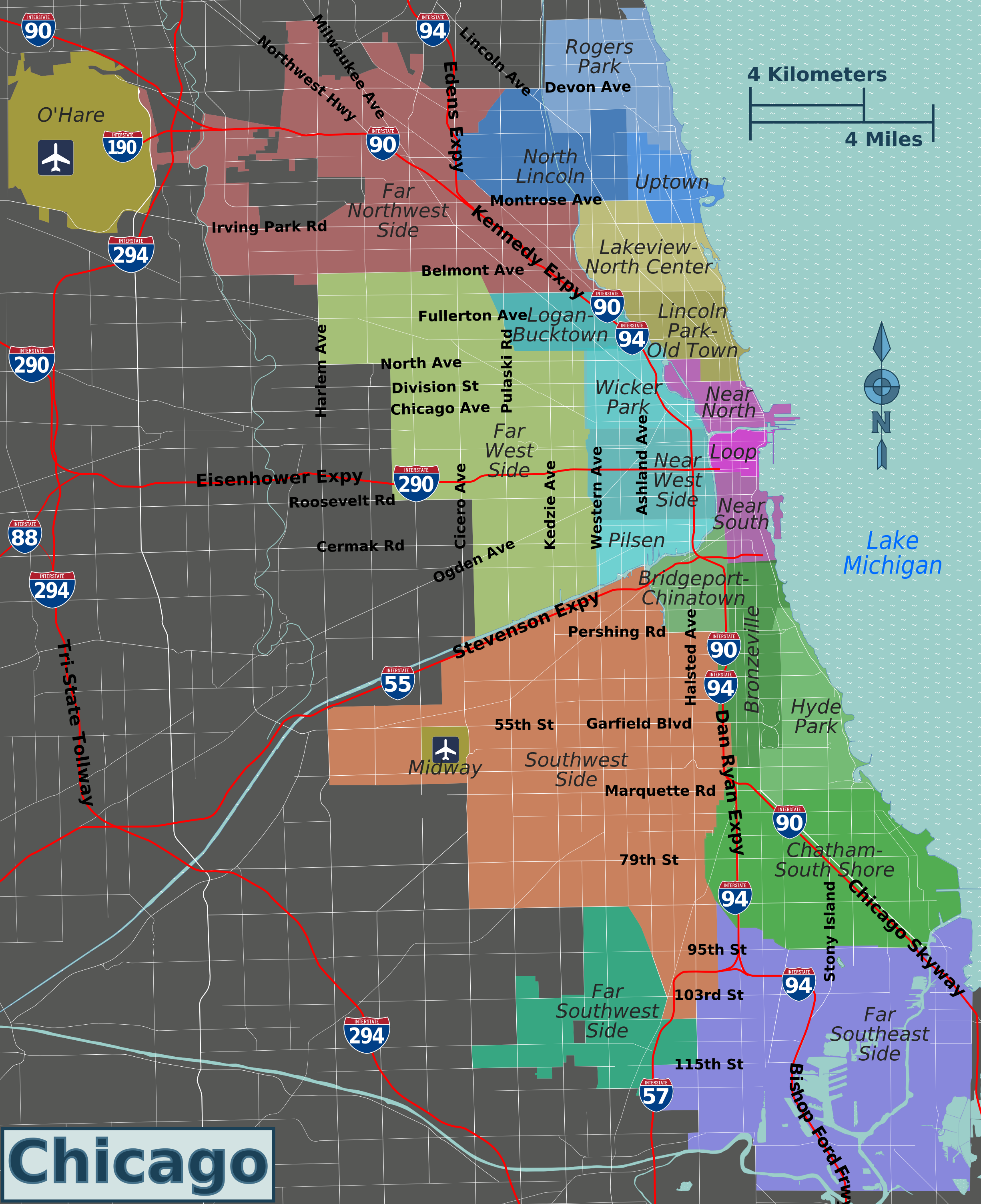 Chicago Districts Map File:Integrated Chicago districts map.png   Wikimedia Commons