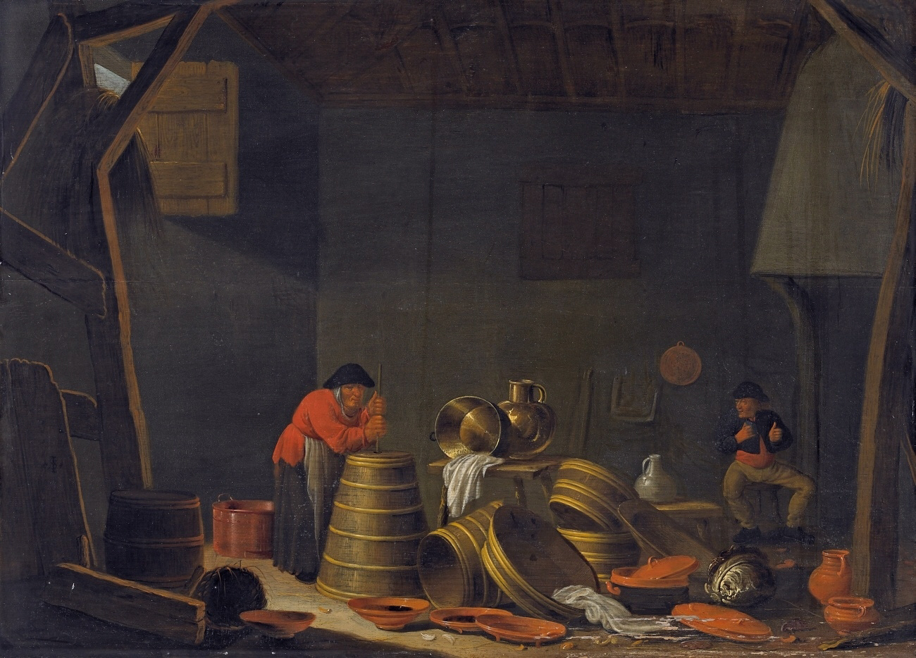 Butter made in an barn, German painting by Jan Spanjaert