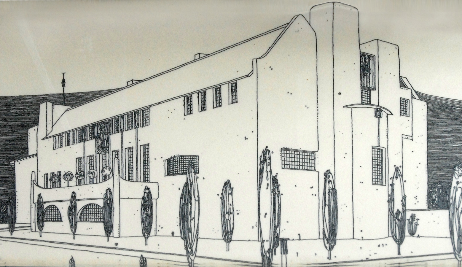 Line Art House : House behind a hill clipart etc