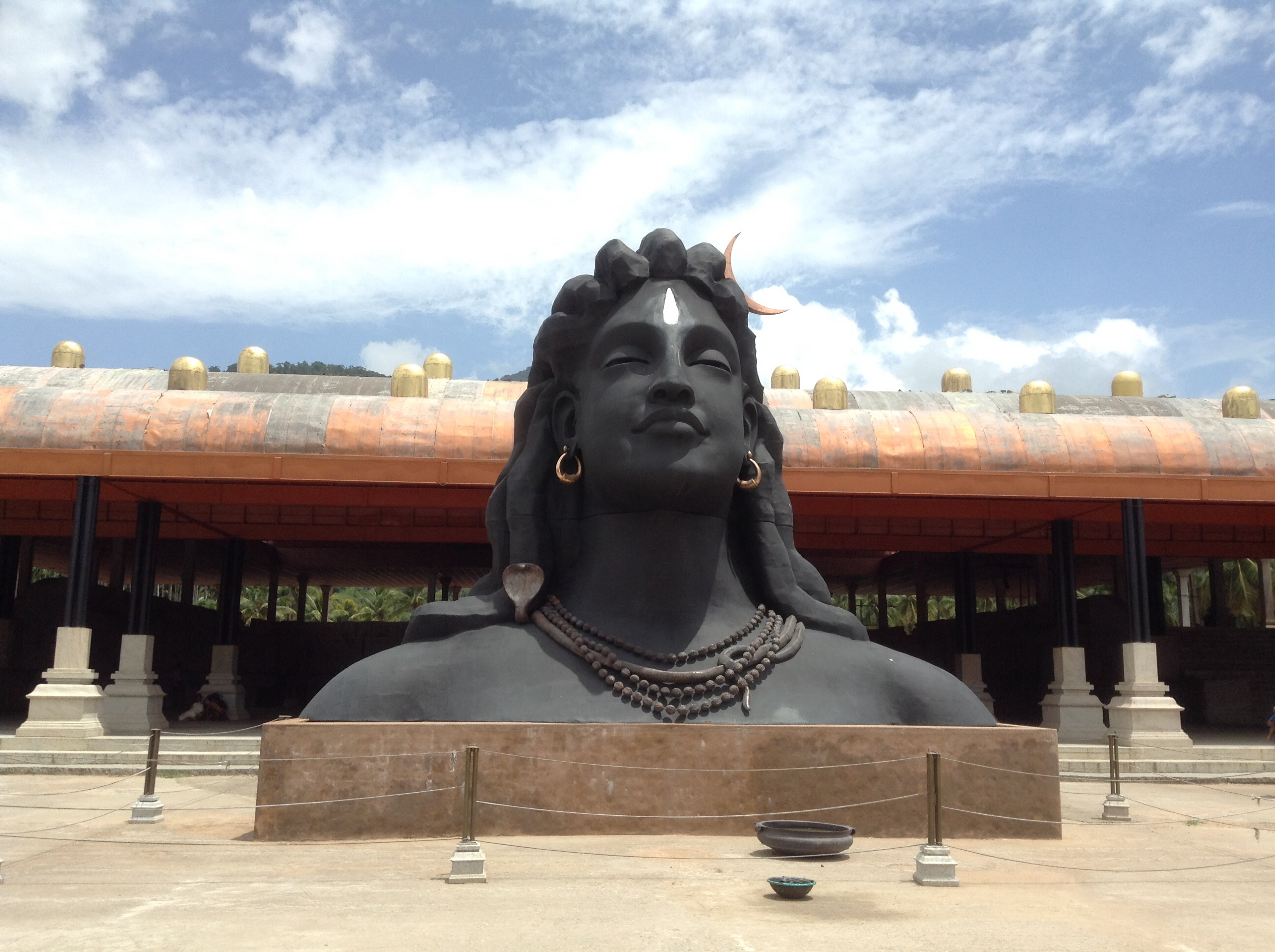 Statue lord Shiva, Adiyogi, atop Vellaingiri mountains