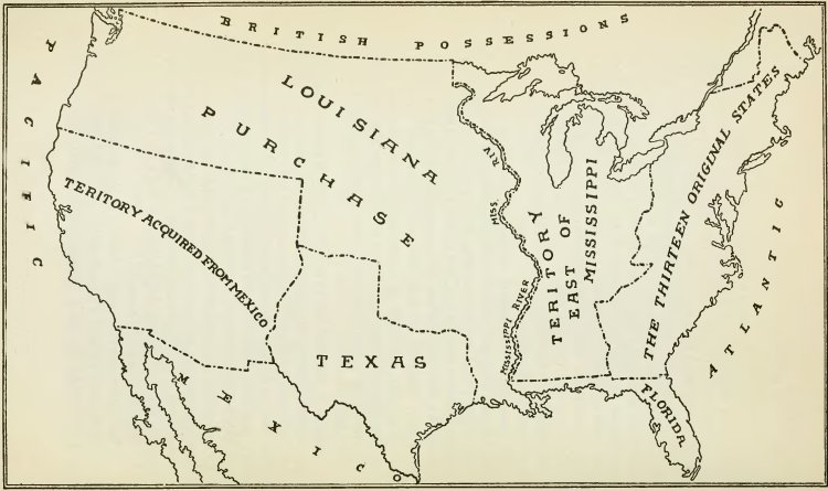 Map Showing Extent of Louisiana Purchase - History of Iowa