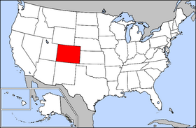 Mapa ning United States with Colorado highlighted