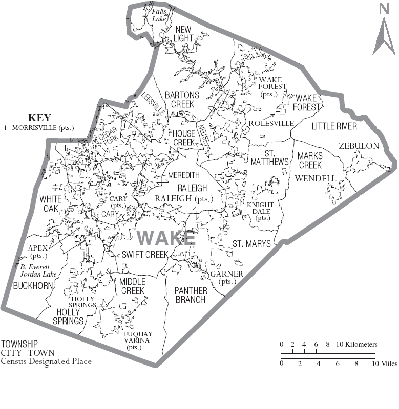 File:Map of Wake County North Carolina With Municipal and Township