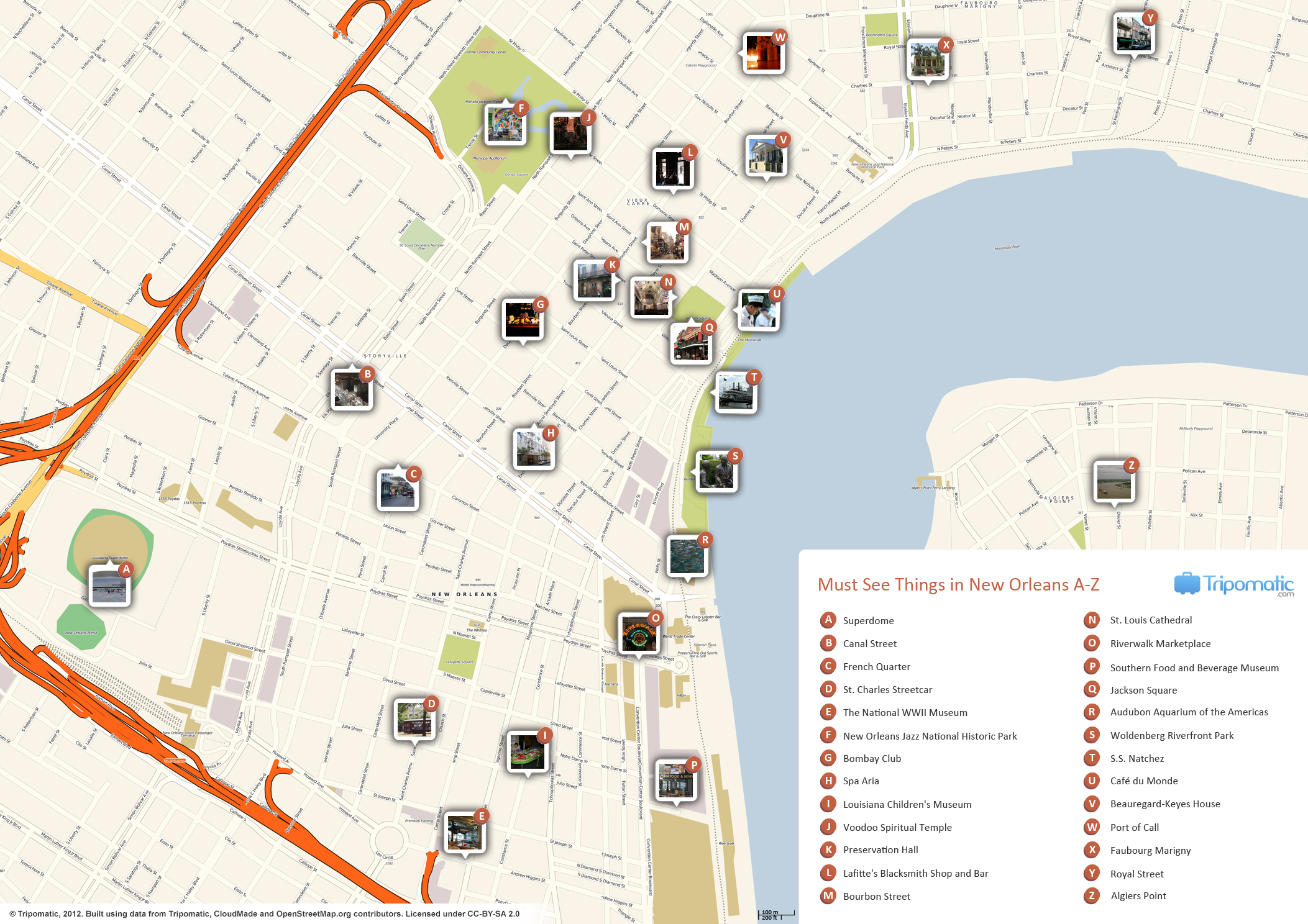 {FileNew Orleans printable tourist attractions mapjpg Wikimedia – Tourist Attractions Map New Orleans