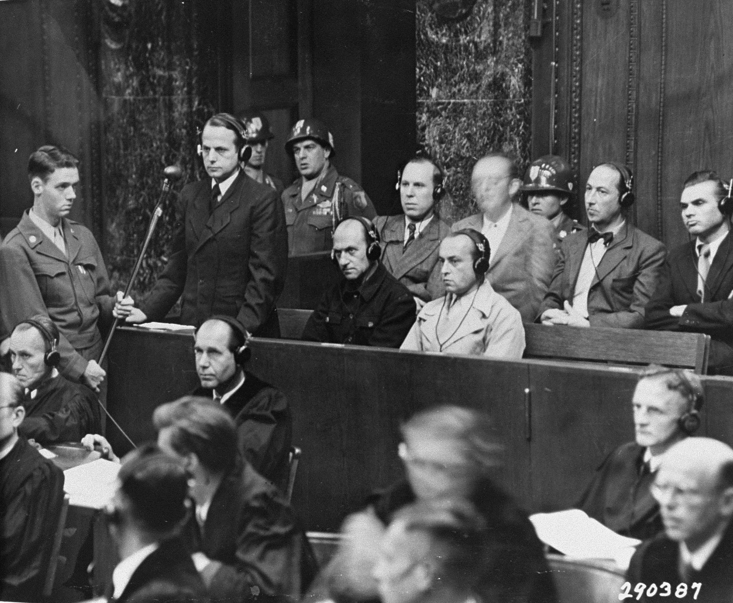 SS-Gruppenfuhrer Otto Ohlendorf, commander of Einsatzgruppe D, pleads not guilty during the Einsatzgruppen trial, Nuremberg, 15 September 1947. He was executed in 1951. Ohlendorf pleads not guilty.jpg
