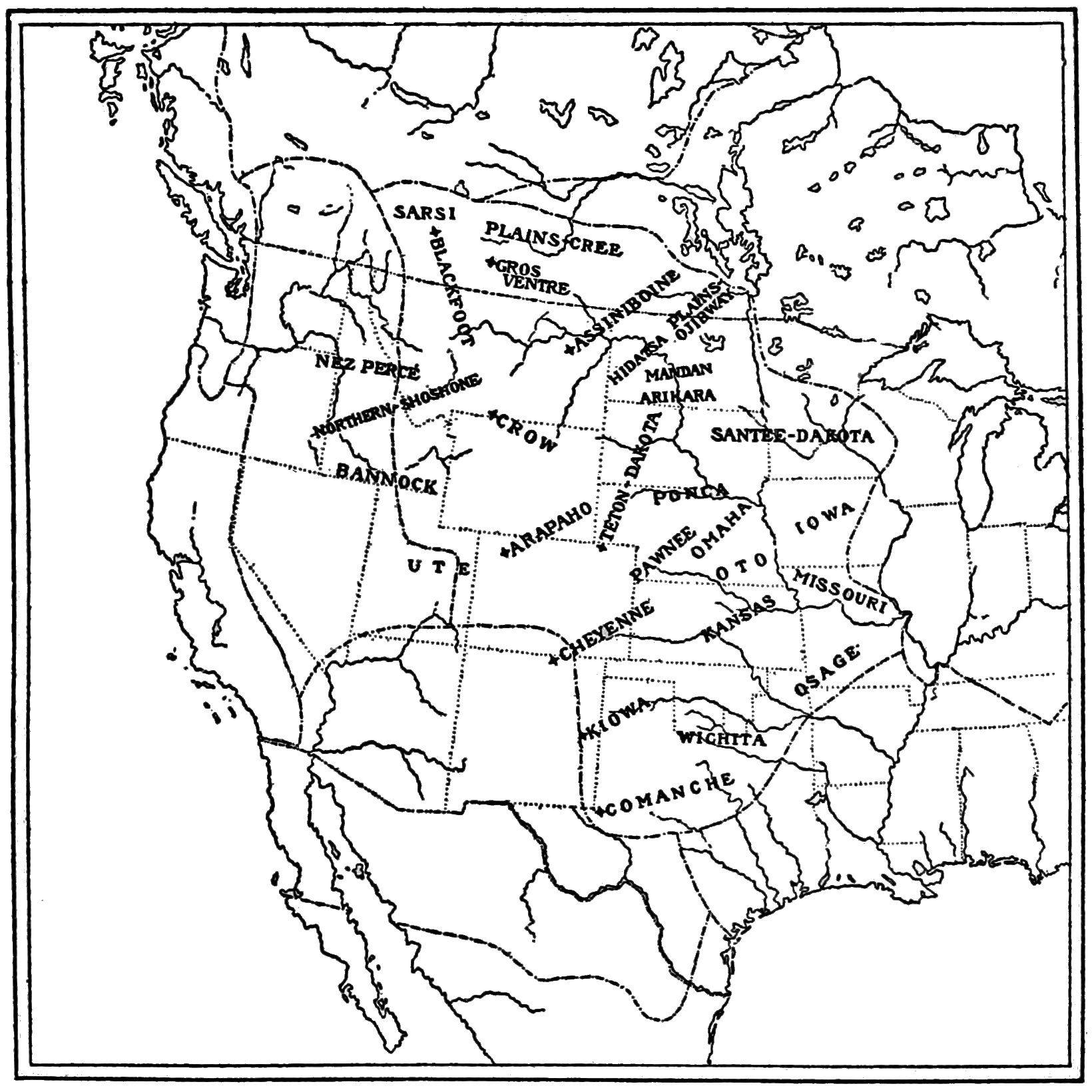 PSM V82 D443 Map of the area of the plains indians.png