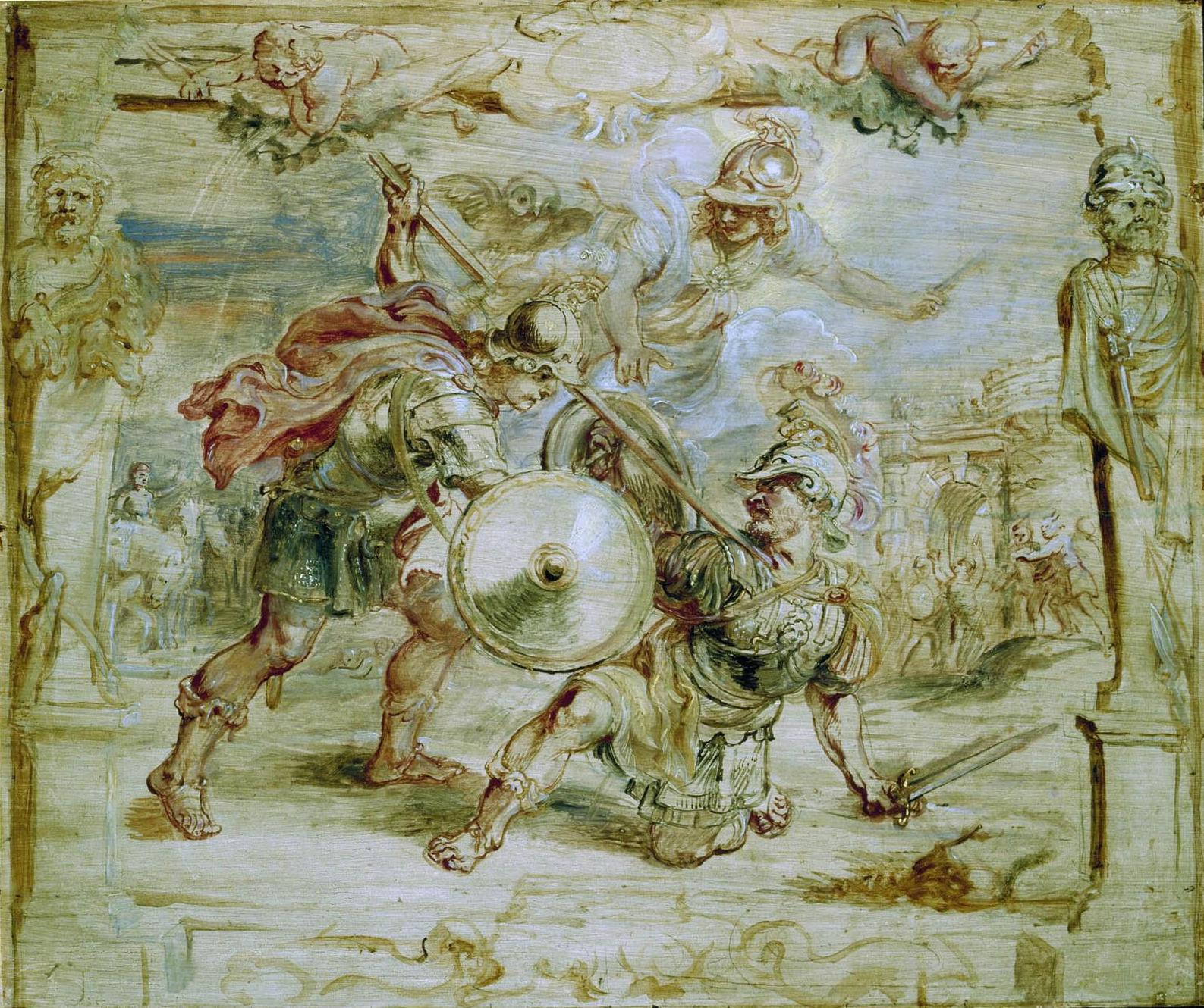 The death of Hector, unfinished oil painting by Peter Paul Rubens